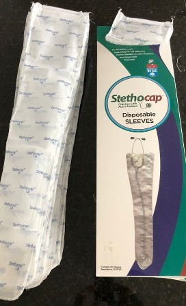 Stethocap Sleeve box with sleeves both inside and outside the box with an opening at the top of the box with a sleeve hanging out of it.